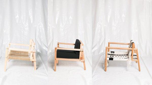 Drei Varianten des Sessels WTR-001-G/B/R